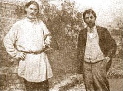 А. Чехов в своём саду в Ялте с М. Горьким