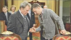 Сергей Шакуров на съёмках «Зворыкина–Муромца»