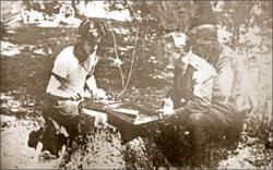 Комбриг Морозов на связи с Большой землёй. 1944 год