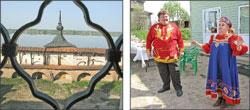 Вид из Кирилло-Белозерского монастыря на Сиверское озеро (cлева); Театрализованное представление в тверской деревне Григорово (cправа);   Фото автора
