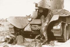 21.07.1941. Сгоревшие советские танкисты лёгкого танка БТ-2 (пулемётный вариант). Деревня Романищи, Белоруссия;  www.waralbum.ru