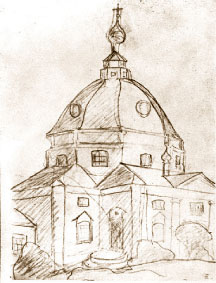 А. Журов. Церковь в селе Тараканово, где венчался А. Блок. Карандаш, 1924 г.