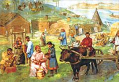 Якуты. Картины труда и быта. Худ. В. Баюскин. 1928 г.