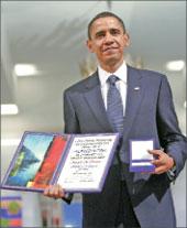 Во время получения наспех присуждённой Нобелевской премии мира Обама говорил